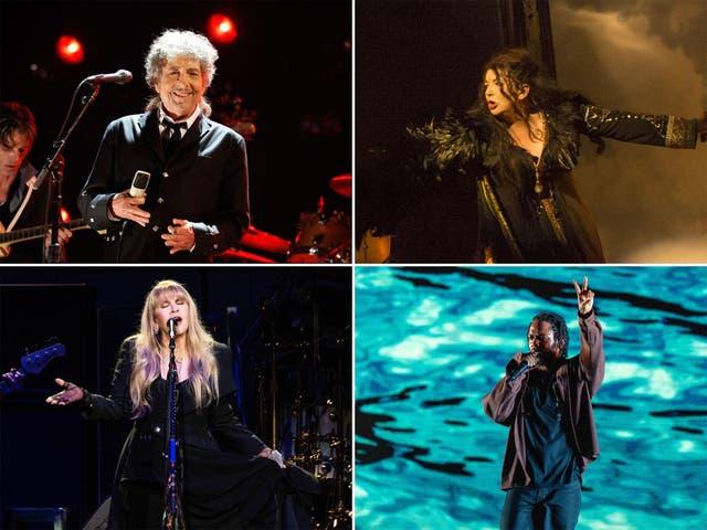 Clockwise from top left: Bob Dylan, Kate Bush, Kendrick Lamar, Stevie Nicks