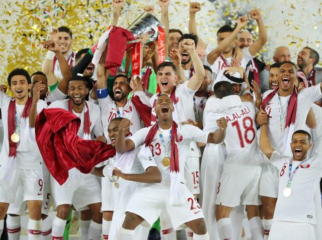 Qatar celebrate their Asian Cup triumph