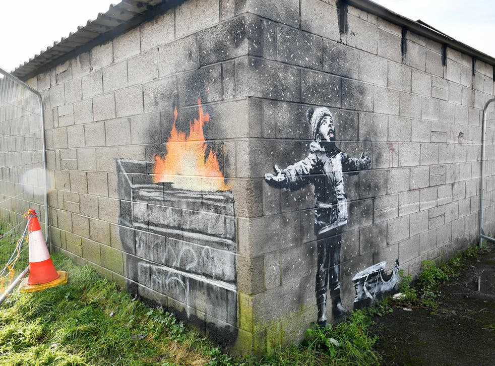 A painting by the street artist appeared on a garage wall in south Wales in December