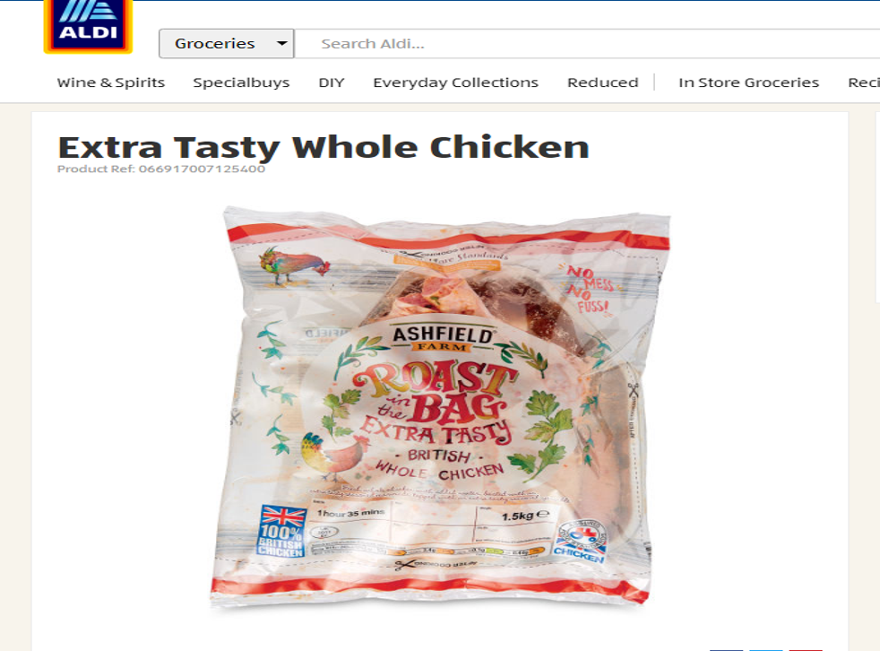 Aldi packaging suggests the chicken had outdoors access, with logos of lots of green leaves