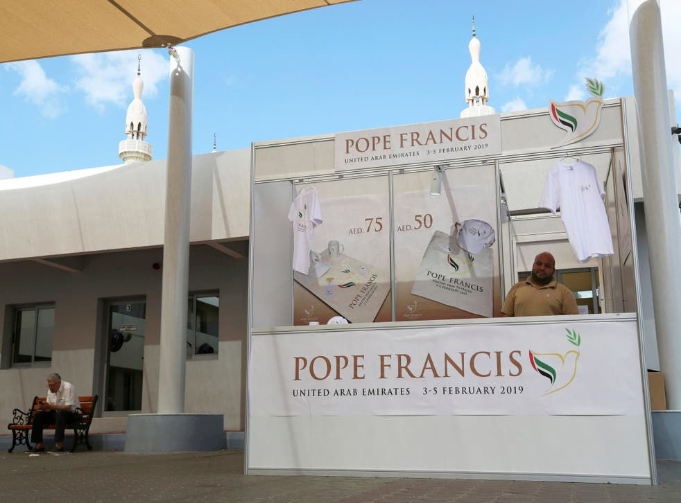 A man sells memorabilia for Pope Francis' upcoming trip to the UAE at St. Mary's Catholic Church, Dubai.  A bridge, new ministry, family day at the park and the year 2019 are branded under the theme 'tolerance' as the country prepares to host Pope Francis from Sunday 3 February 2019.