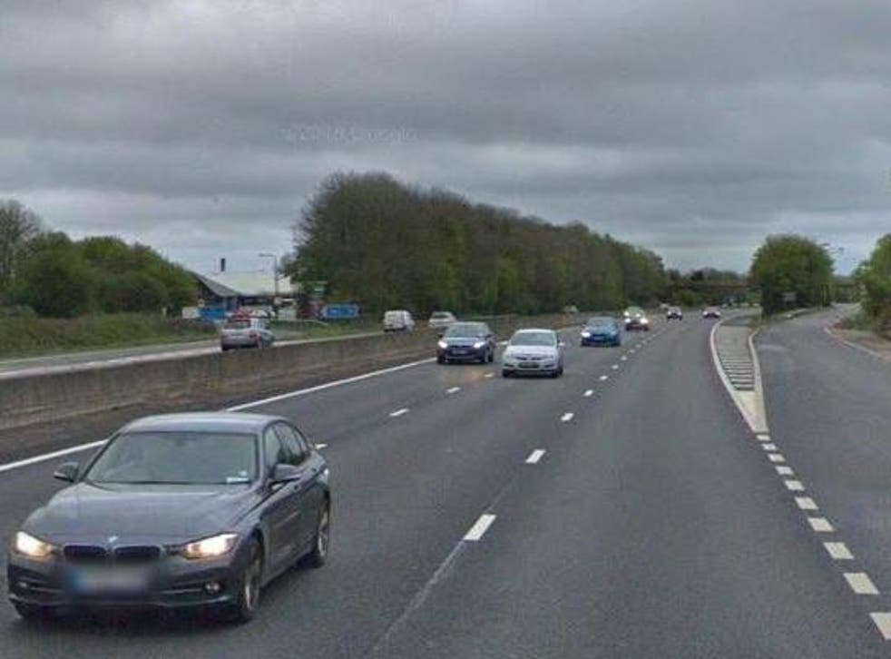 The Saab traveled for ten miles along the hard shoulder of the westbound M4 before being stopped near Membury services