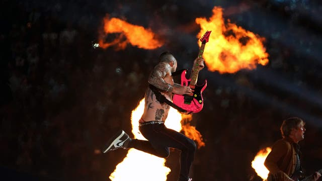Lead vocalist of Maroon 5 Adam Levine performs during the halftime show of Super Bowl LIII