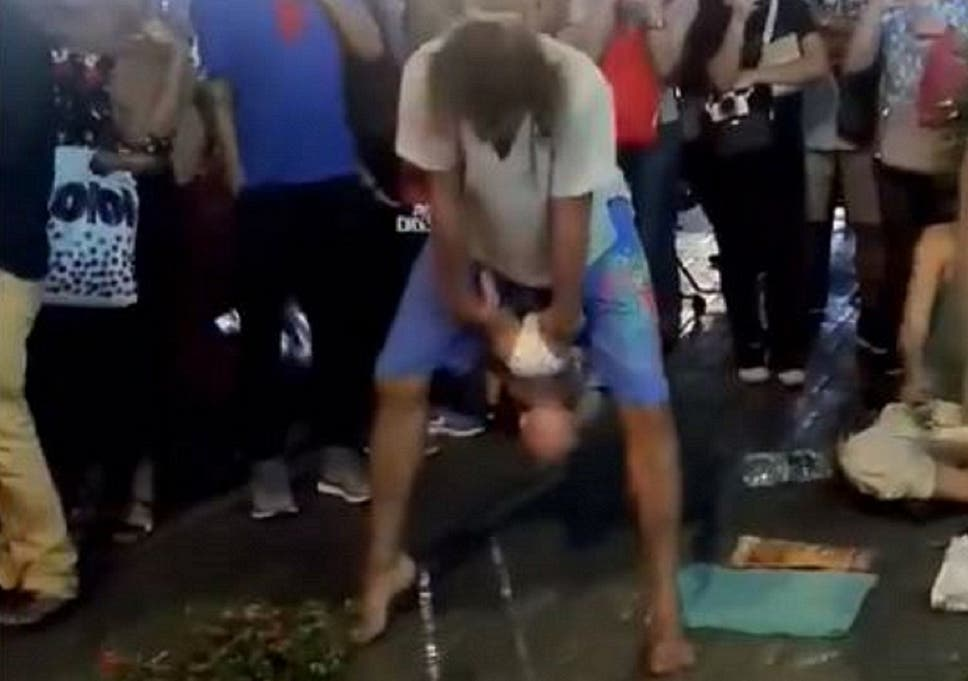 A Russian couple was arrested in Kuala Lumpur, Malaysia, on 4 February, 2019, after being accused of swinging a baby by the legs and throwing it in the air during a street act.
