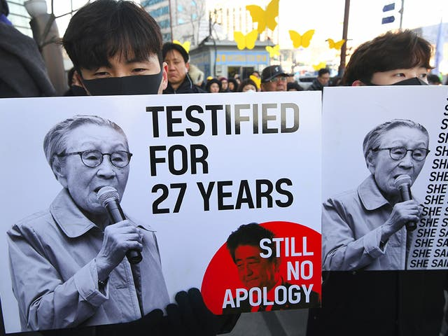 The campaigner's struggle for justice was highlighted by supporters on the day of her funeral in Seoul on 1 February