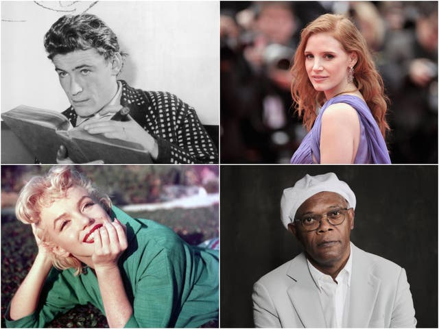 Clockwise from top left: Peter O'Toole, Jessica Chastain, Samuel L Jackson, Marilyn Monroe