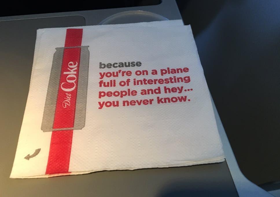 Delta Air Lines hands out 'creepy' Diet Coke napkins