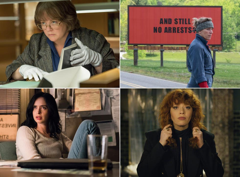 Present imperfect: pictured (clockwise, from top left), Melissa McCarthy in 'Can You Ever Forgive Me?', Frances McDormand in 'Three Billboards', Natasha Lyonne in 'Russian Doll', and Krysten Ritter in 'Jessica Jones'