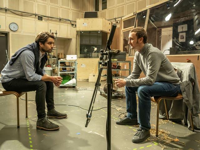 Luke Pasqualino and Tom Brooke in rehearsals for 'Berberian Sound Studio'