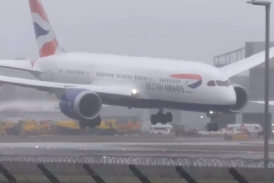 Storm Erik: British Airways flight aborts landing at