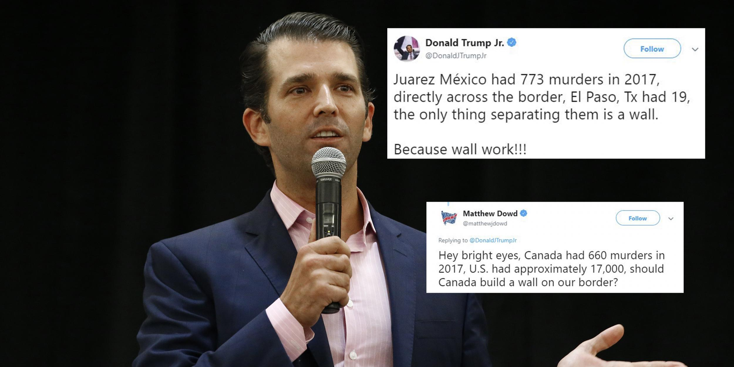 Trump Jr condemned after trying to use murder rates in US
