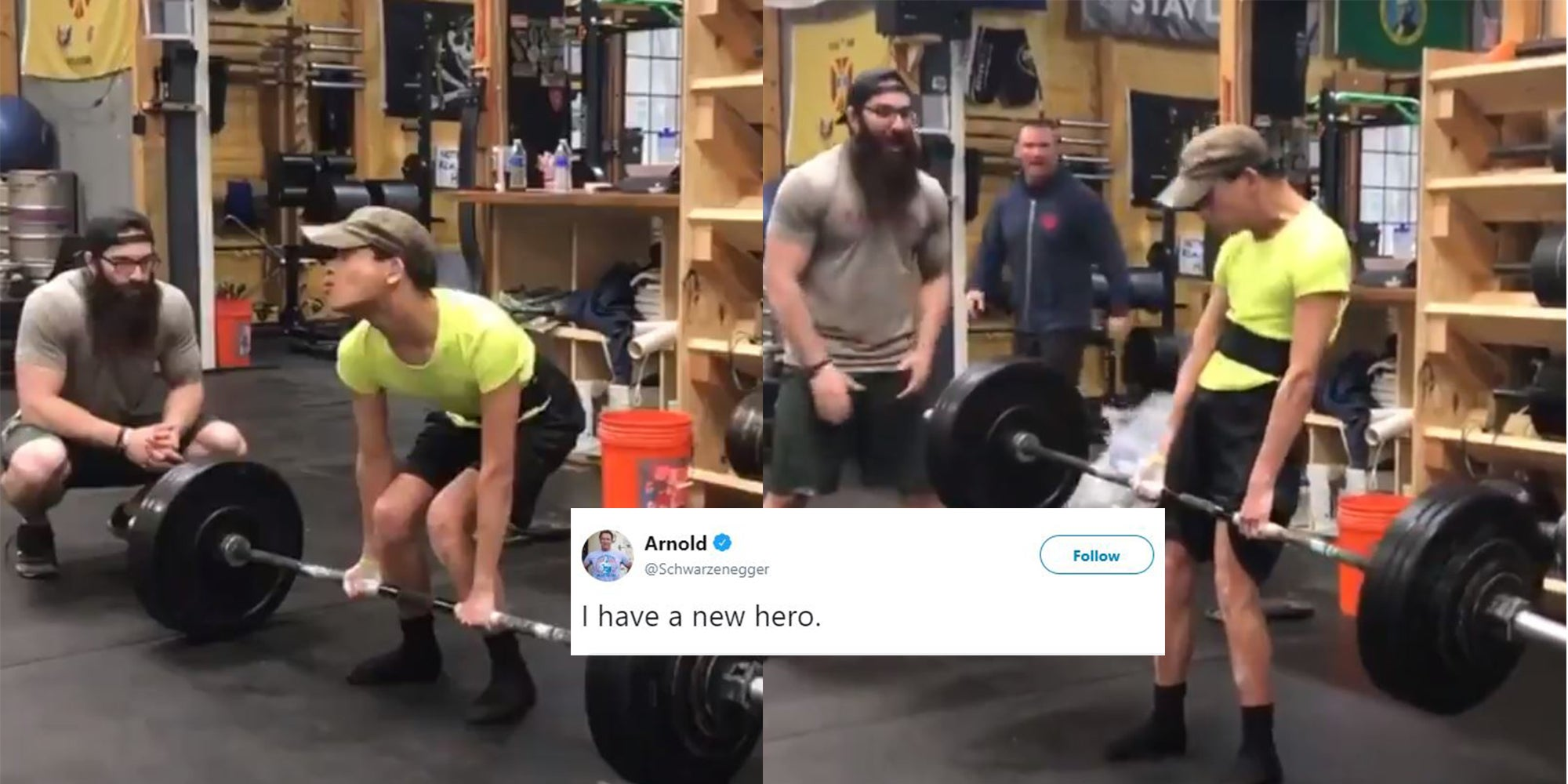 Athlete with cerebral palsy deadlifts 200 pounds and Arnold
