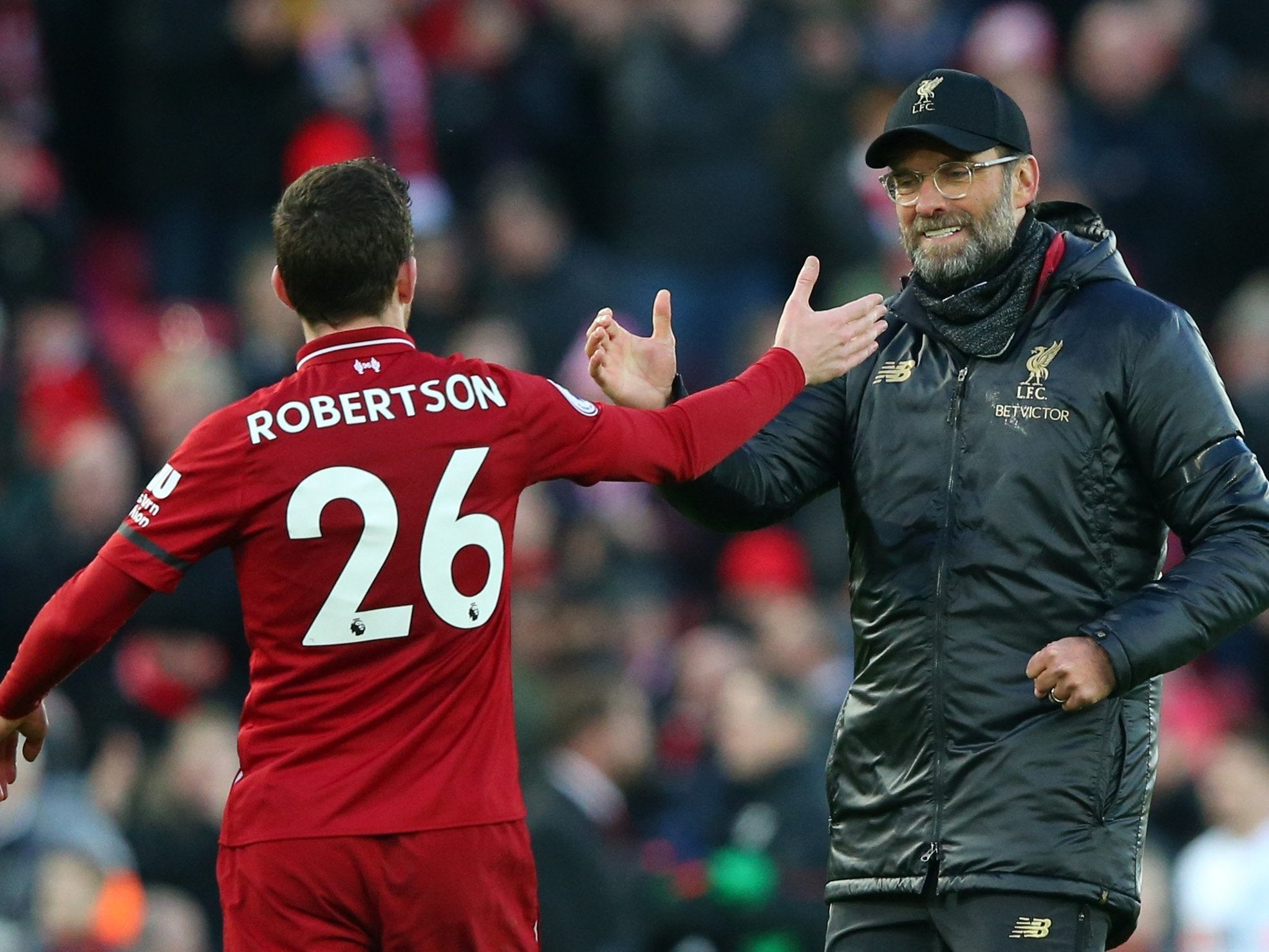Liverpool news: Andrew Robertson laughs off talk Jurgen Klopp is feeling the pressure of the title race