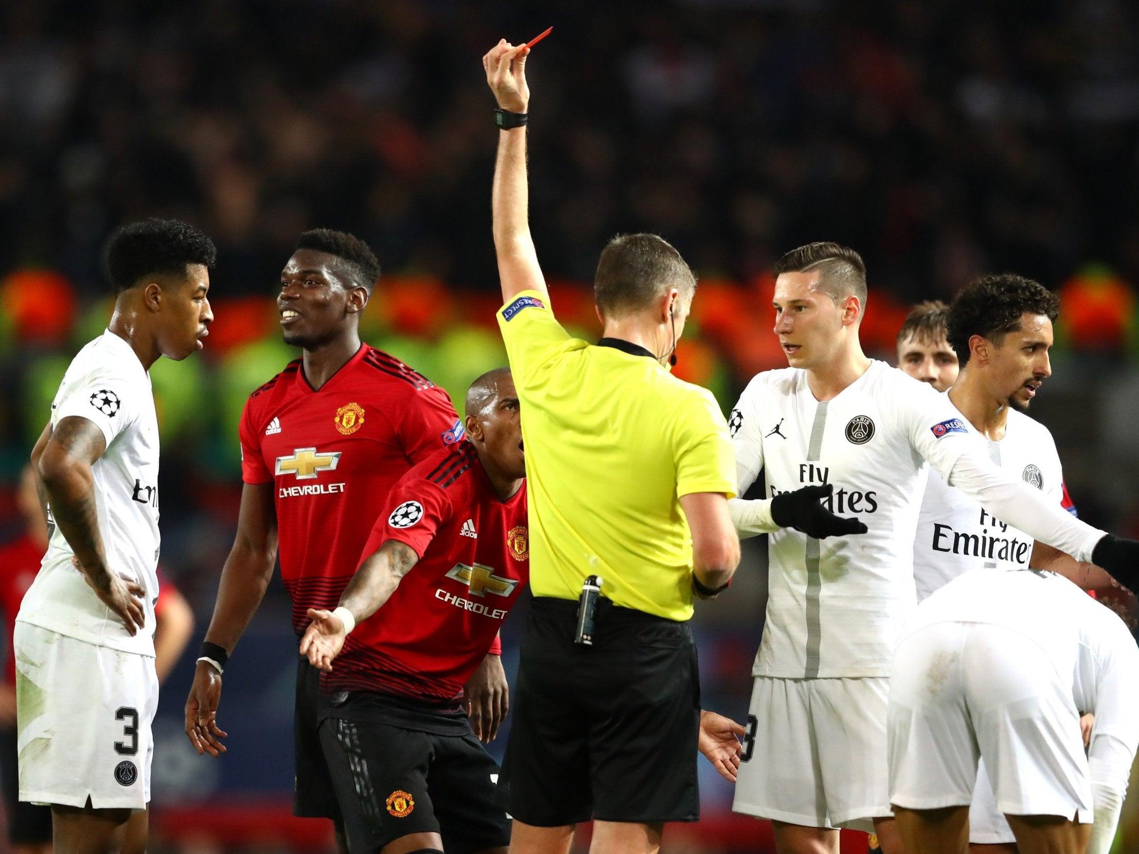 Man Utd Vs Psg Paul Pogba Shown Red Card After Nasty
