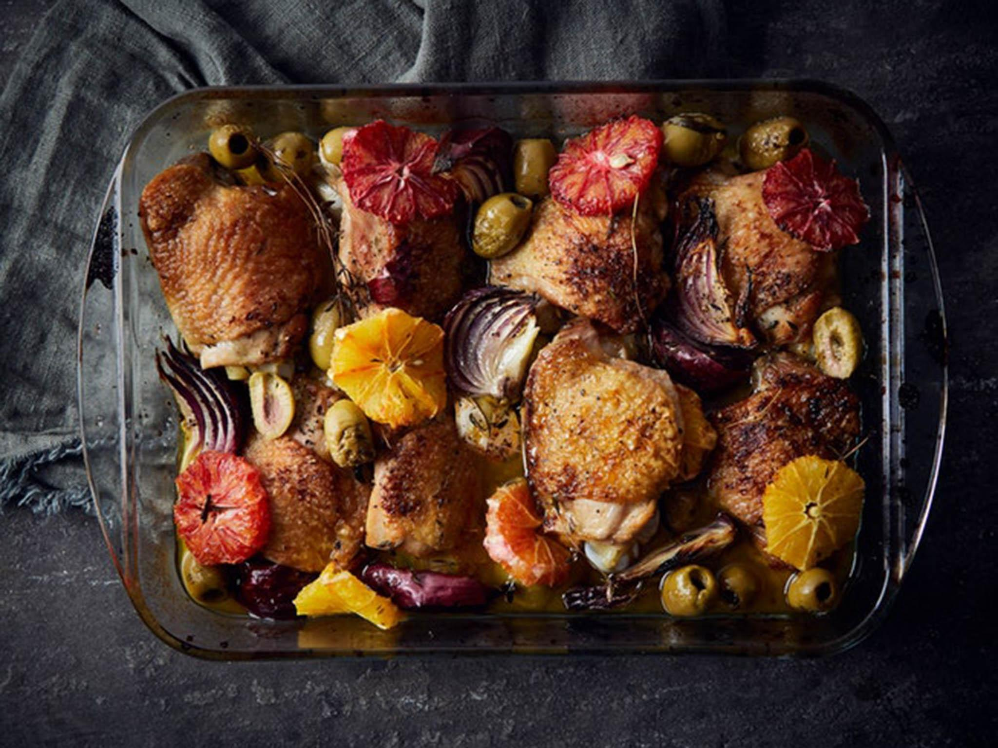 How to make Farmdrop's roast chicken with blood orange and green olives