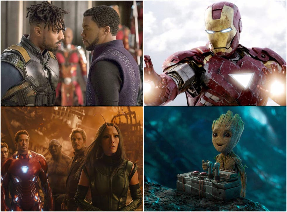 Clockwise from top right: stills from Black Panther, Avengers, Guardians of the Galaxy Vol 2, and Avengers: Infinity War