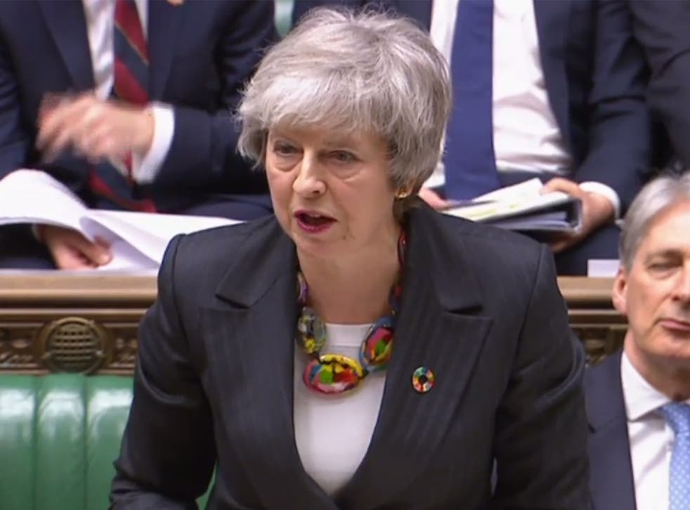 Theresa May making a statement on Brexit in the House of Commons