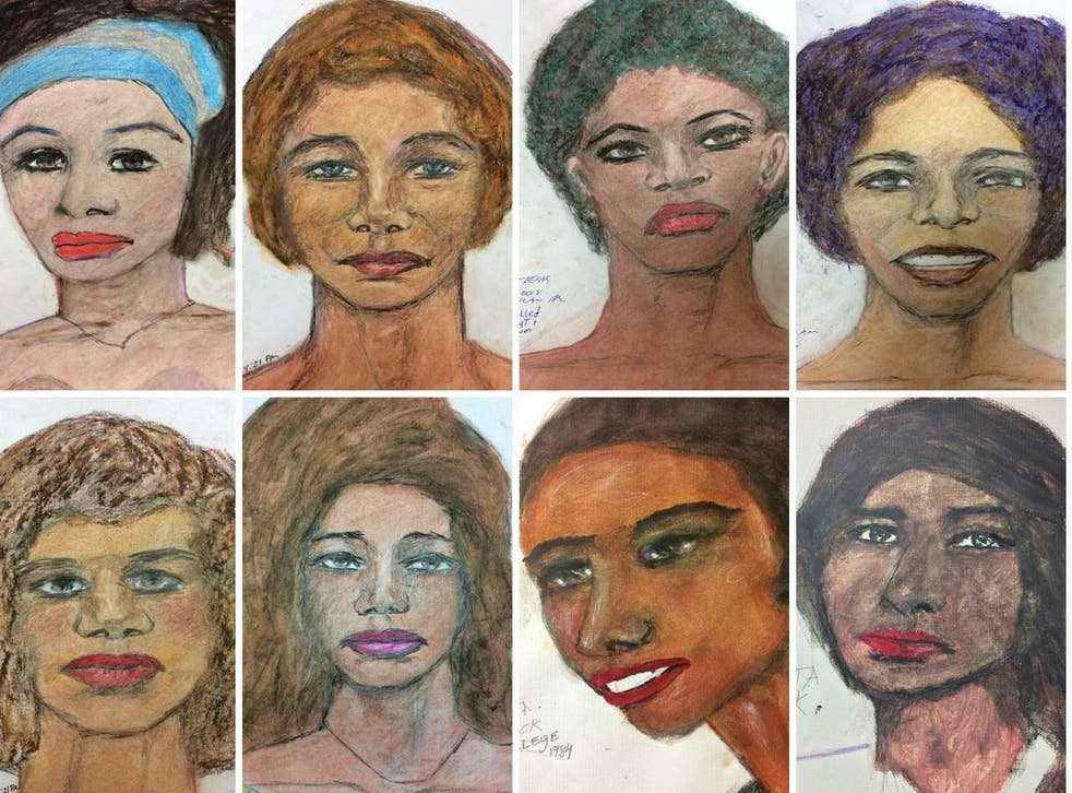 Eight of the 16 drawings of Samuel Little's victims released by the FBI