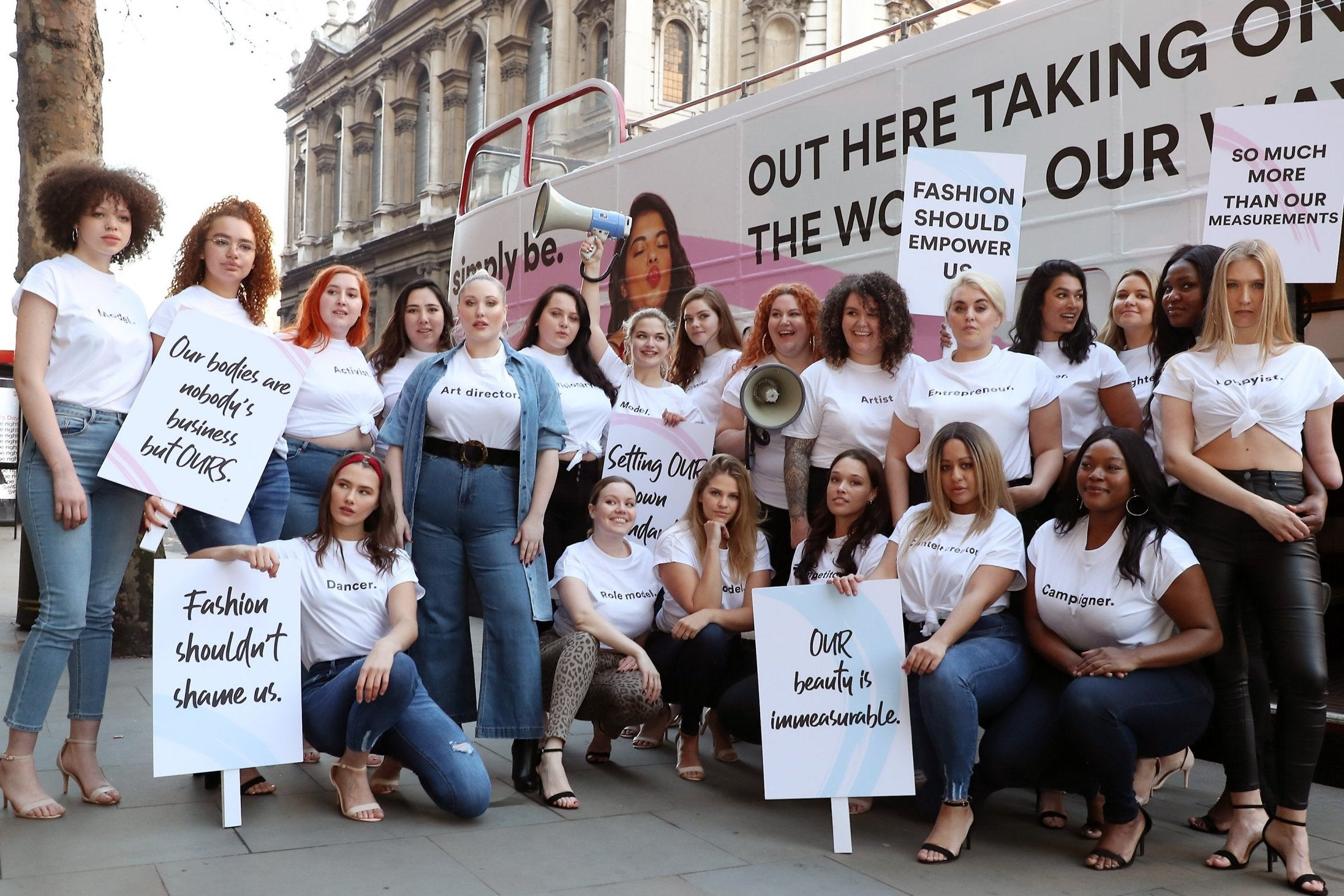 cfc17fb00f2c7 Plus-size models protest outside calling for body inclusivity