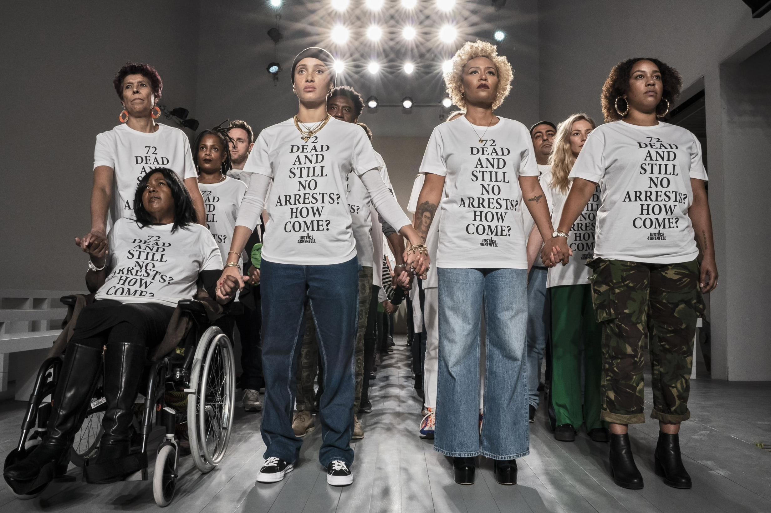 London Fashion Week: Grenfell activists take to runway to demand justice for victims