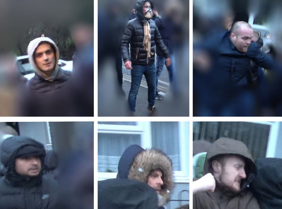 Six of the men police would like to identify