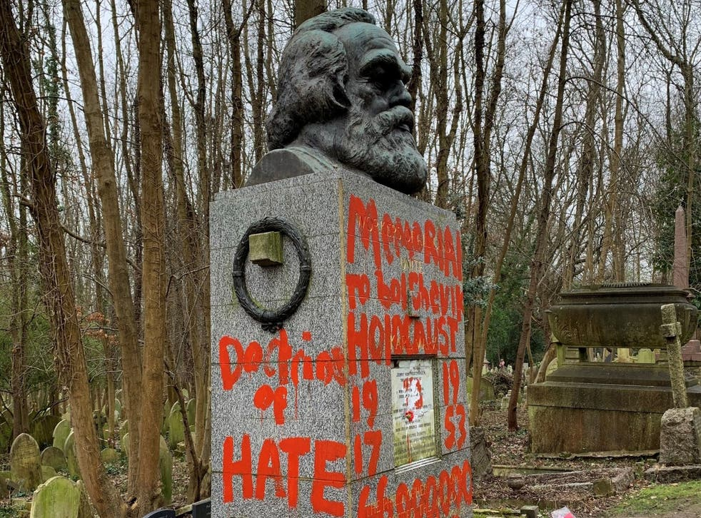 "Vandals daubed graffiti reading ""doctrine of hate"" on Karl Marx's grave"