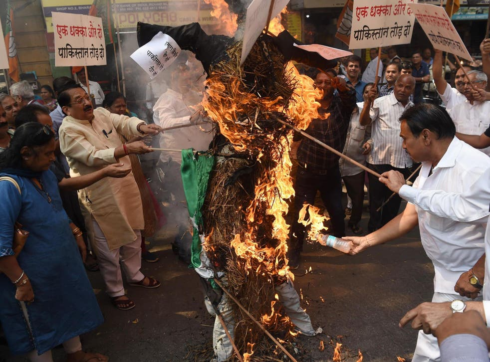 BJP activists burn an effigy at an anti-Pakistan protest following the attack