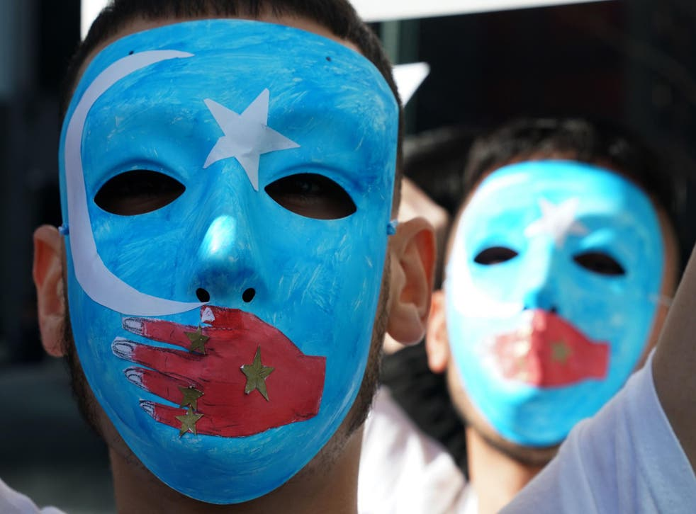 Pro-Uighur protesters outside the United Nations in New York