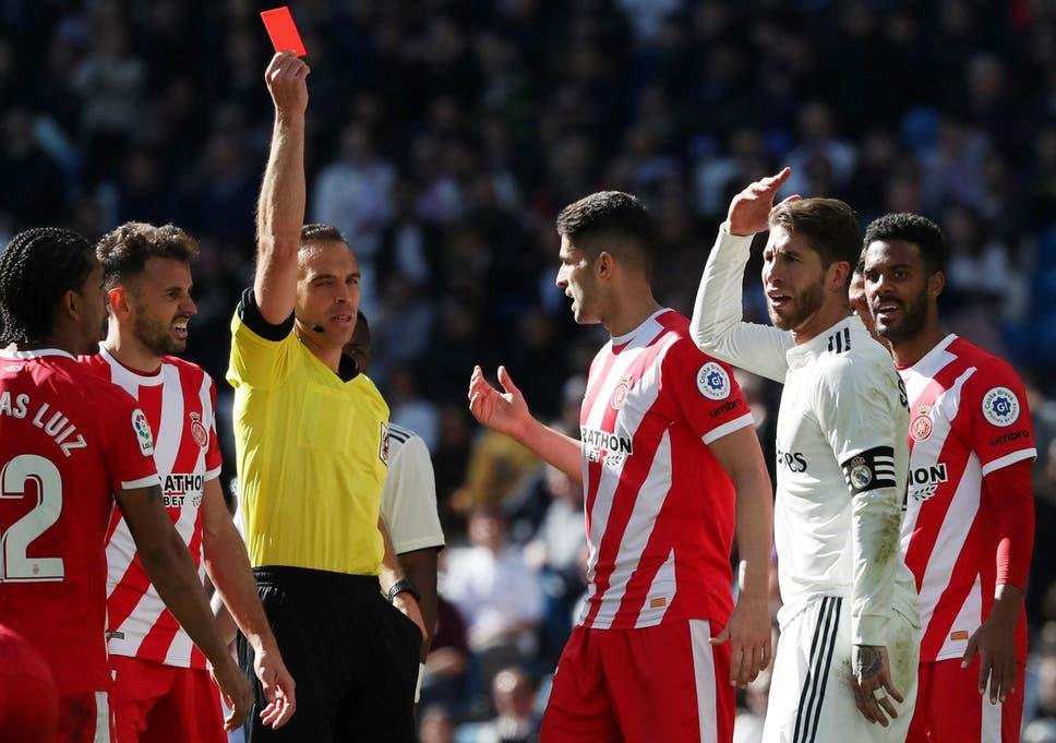 542b836f904 Real Madrid vs Girona  Sergio Ramos sees red as Real suffer shock loss to  damage La Liga title hopes