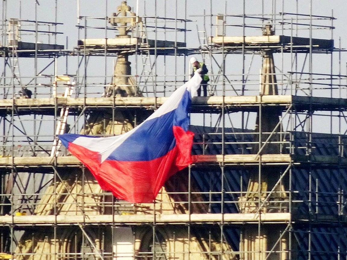 Russian flag draped from Salisbury Cathedral nearly a year after Skripal novichok attack