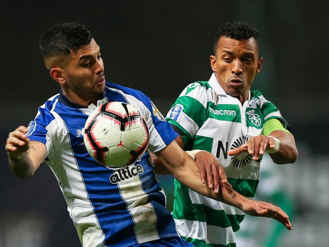 Nani in action for Sporting Lisbon in January