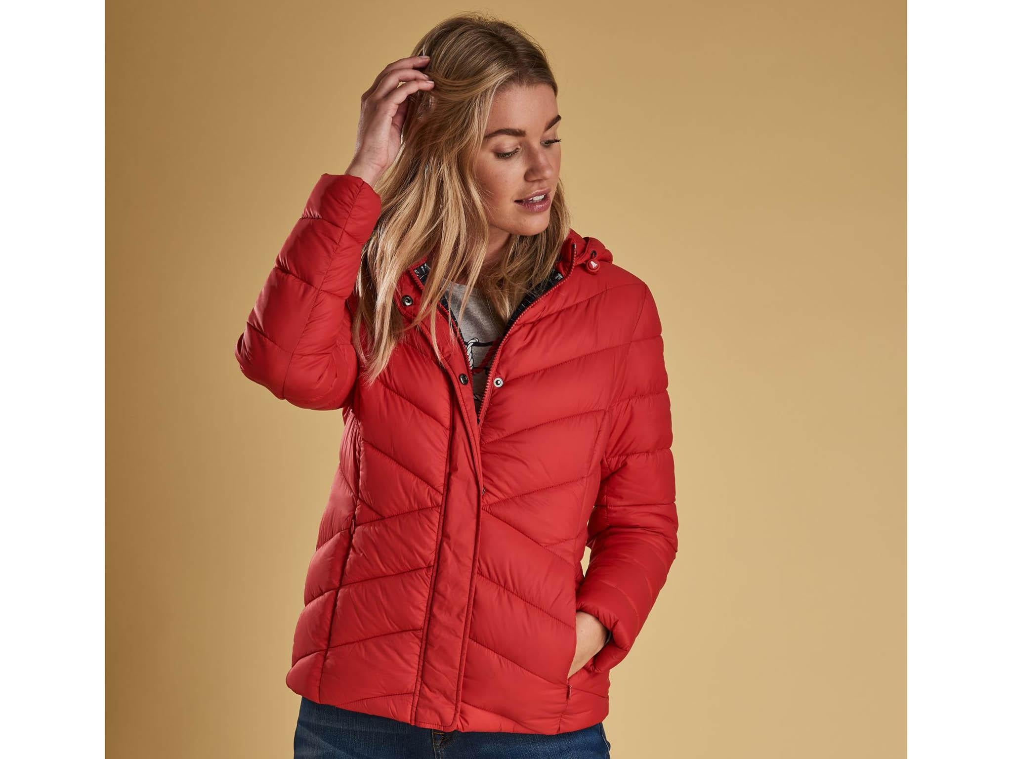Womens Jacket Diamond Quilted Padded Cord Detail Zip Front Red Showerproof Coat