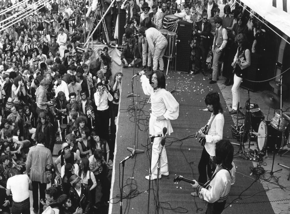 The Rolling Stones at a concert given in memory of guitarist Brian Jones two days after his death in 1969