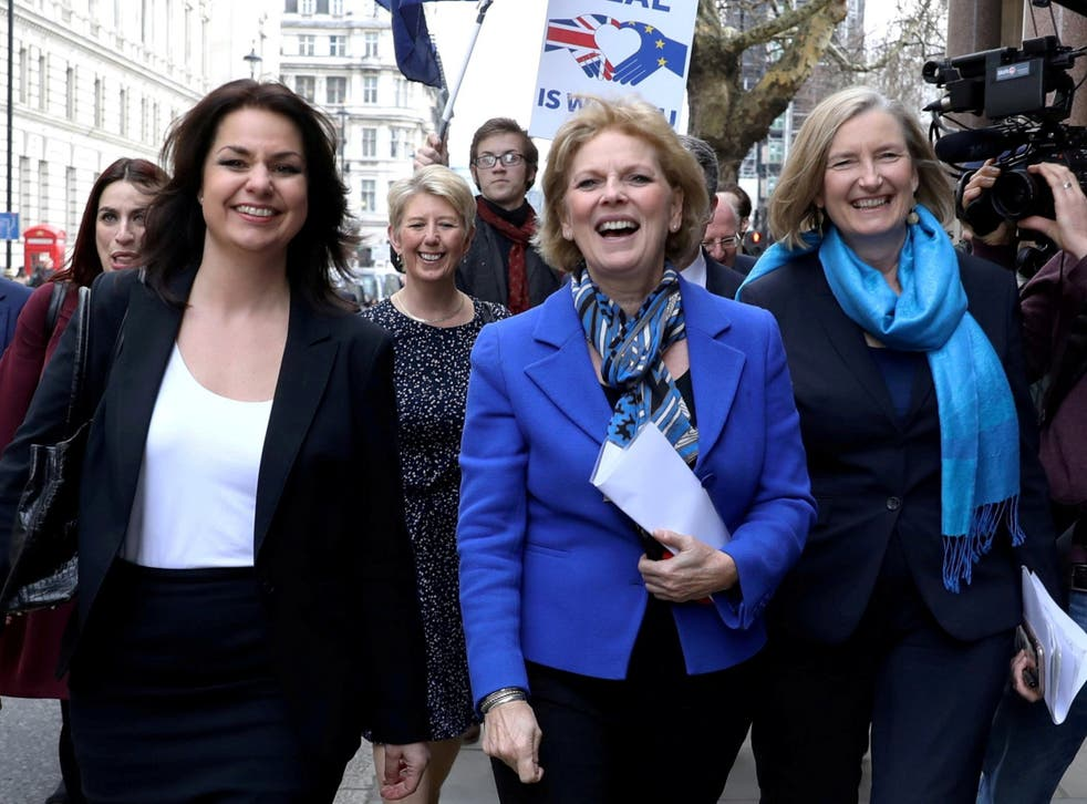 Allen (left) with fellow ex-Tories Anna Soubry and Sarah Wollaston