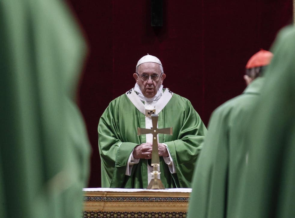 Pope Francis attends a mass in Vatican City