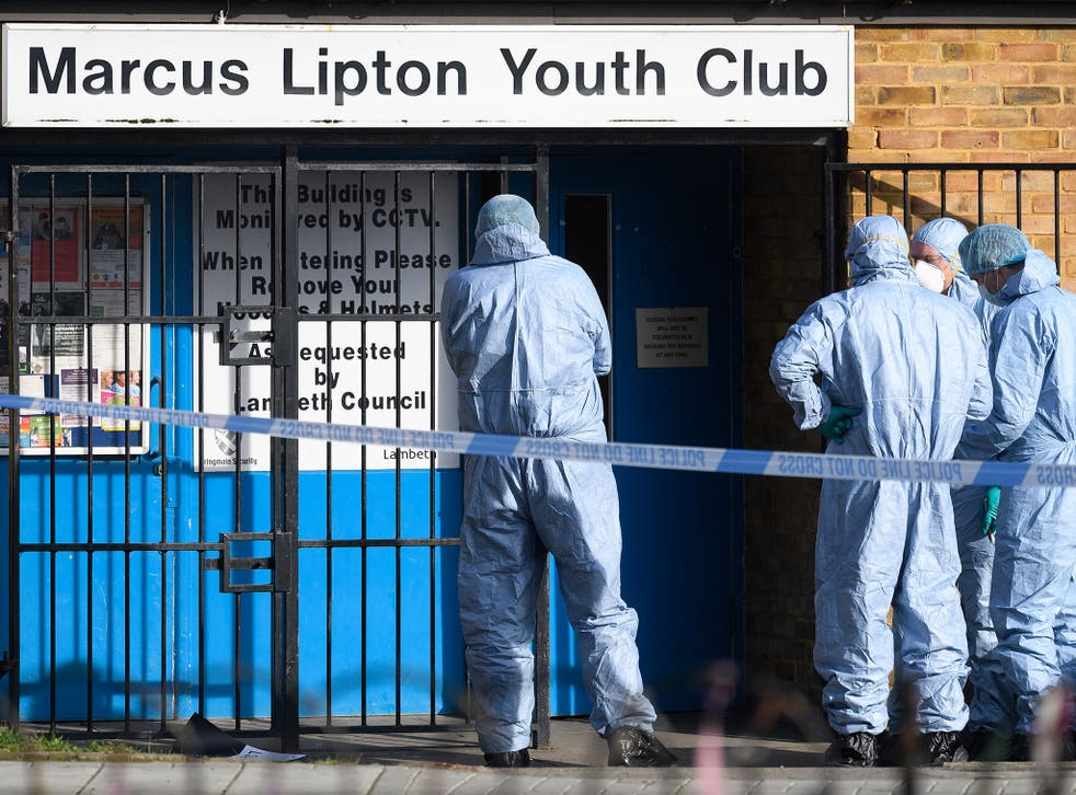 Forensic investigators at the scene of the fatal stabbing last week at Marcus Lipton Youth Club in Brixton