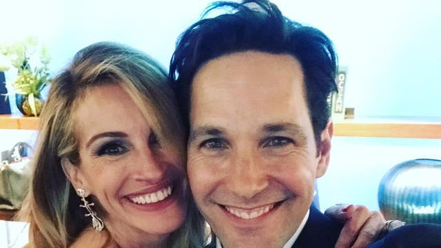"""The actor took a candid selfie backstage with her close friend Paul Rudd, writing on Instagram: """"Ran into this fella. My pal Paul- he is an original. #Oscars91 #actualfriends""""."""