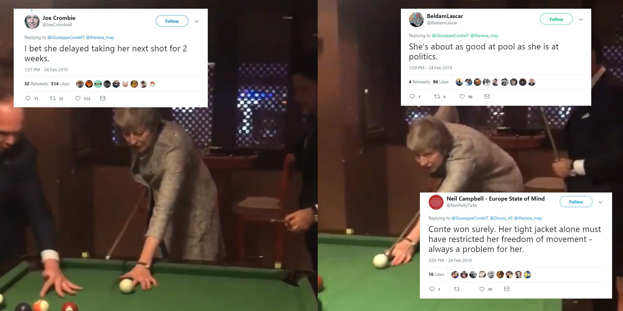 Theresa May tried to play pool with the Italian PM and the
