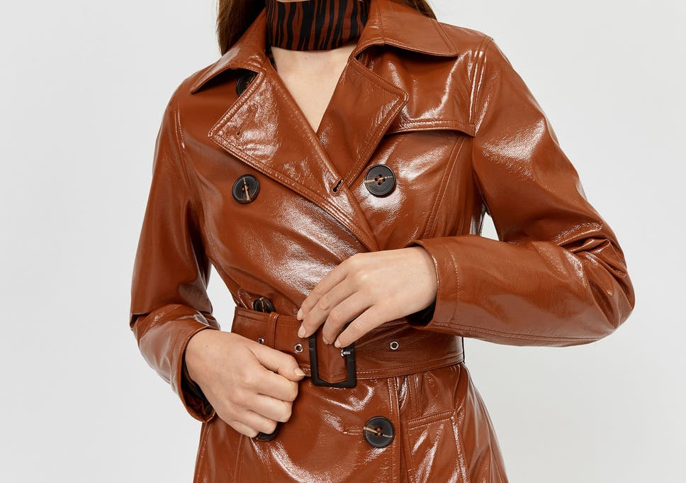 The glossy finish of this tan trench is both bang on trend and genuinely  waterproof ec6267988a842