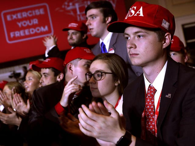 Young supporters cheer at the Conservative Political Action Conference