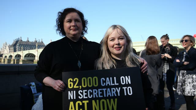 Derry Girls cast members Siobhan McSweeney and Nicola Coughlan (right) join MPS and women impacted by Northern Ireland's strict abortion laws