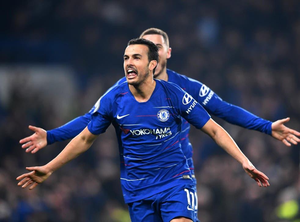 Pedro celebrates breaking the deadlock at Stamford Bridge