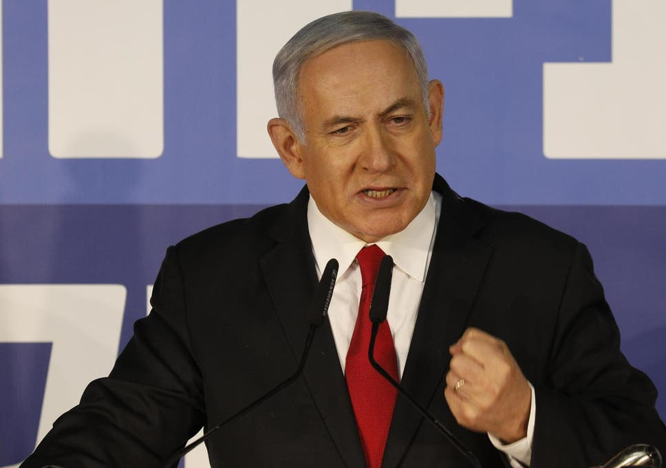 Israeli Prime Minister Benjamin Netanyahu speaks from his residency dismissing allegations against him a 'witch hunt' meant to topple him