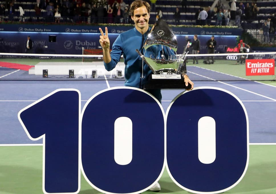 Roger Federer claims 100th ATP singles title with win against
