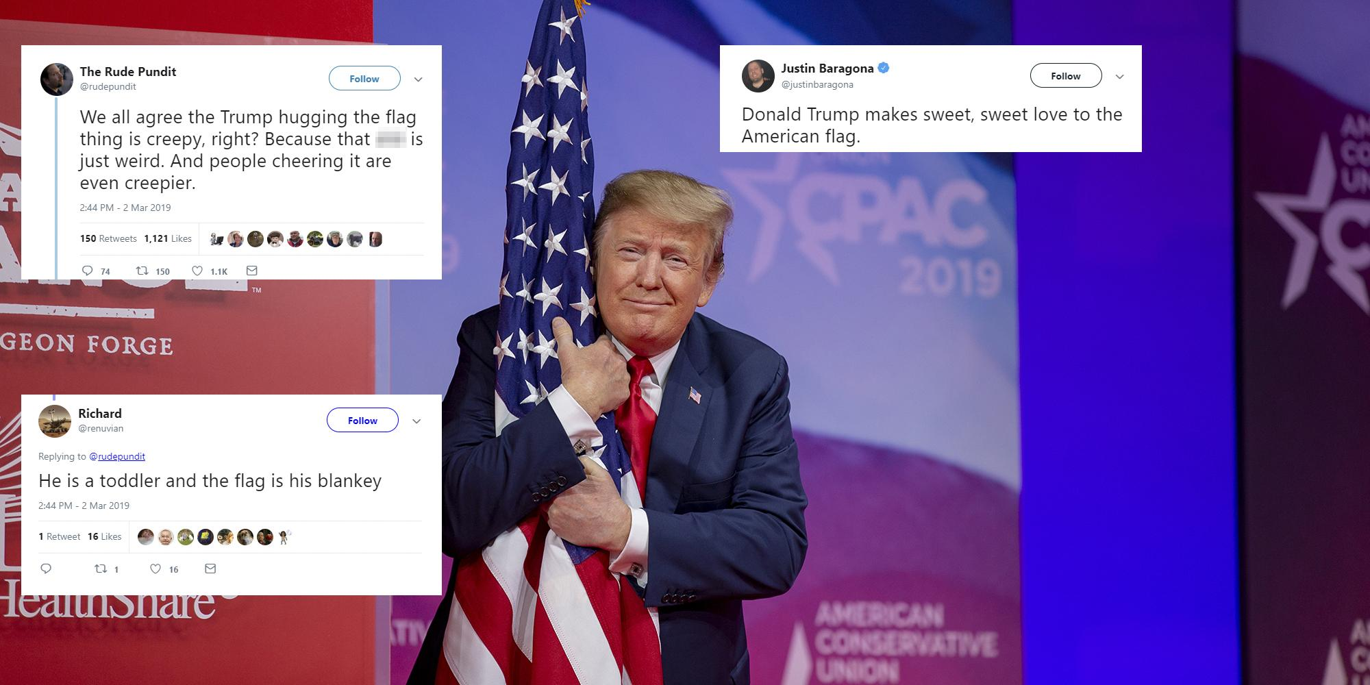 trump hugged the american flag before his cpac speech and