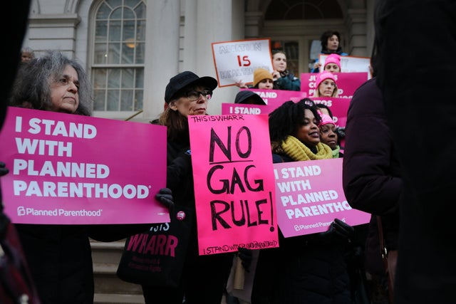 Pro-choice activists protest against the Trump administration's Planned Parenthood rule change policy in New York City