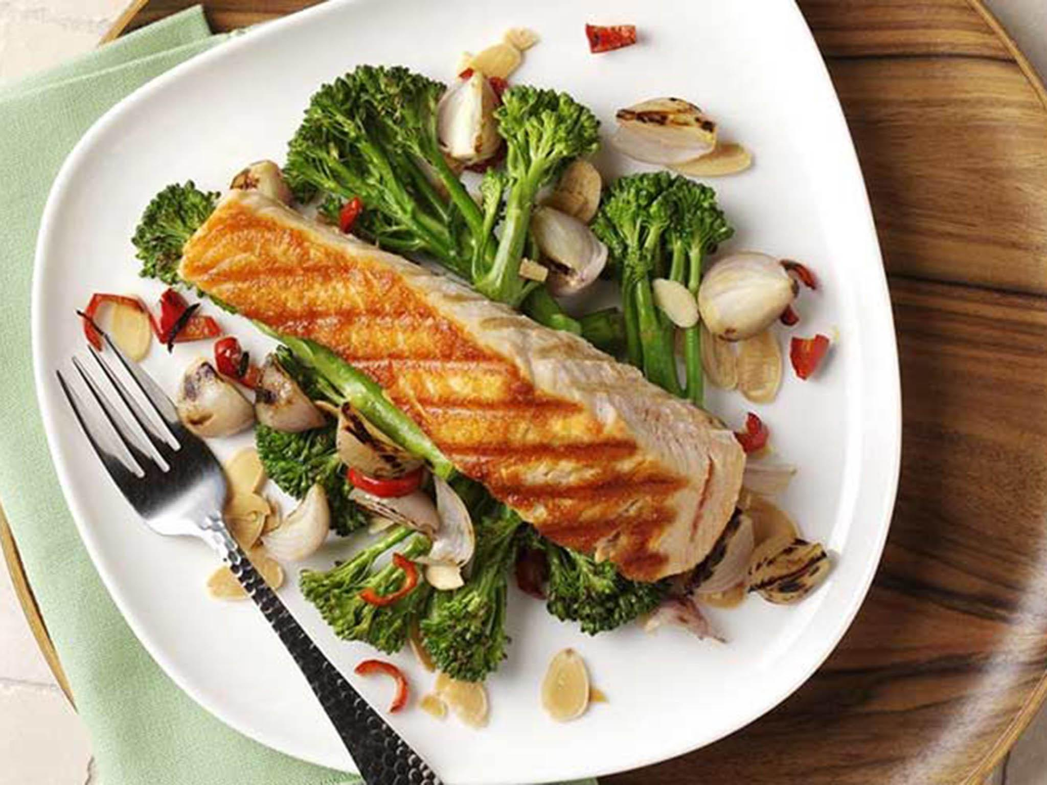 How to make griddled salmon with broccoli, shallot and chilli stir-fry 1
