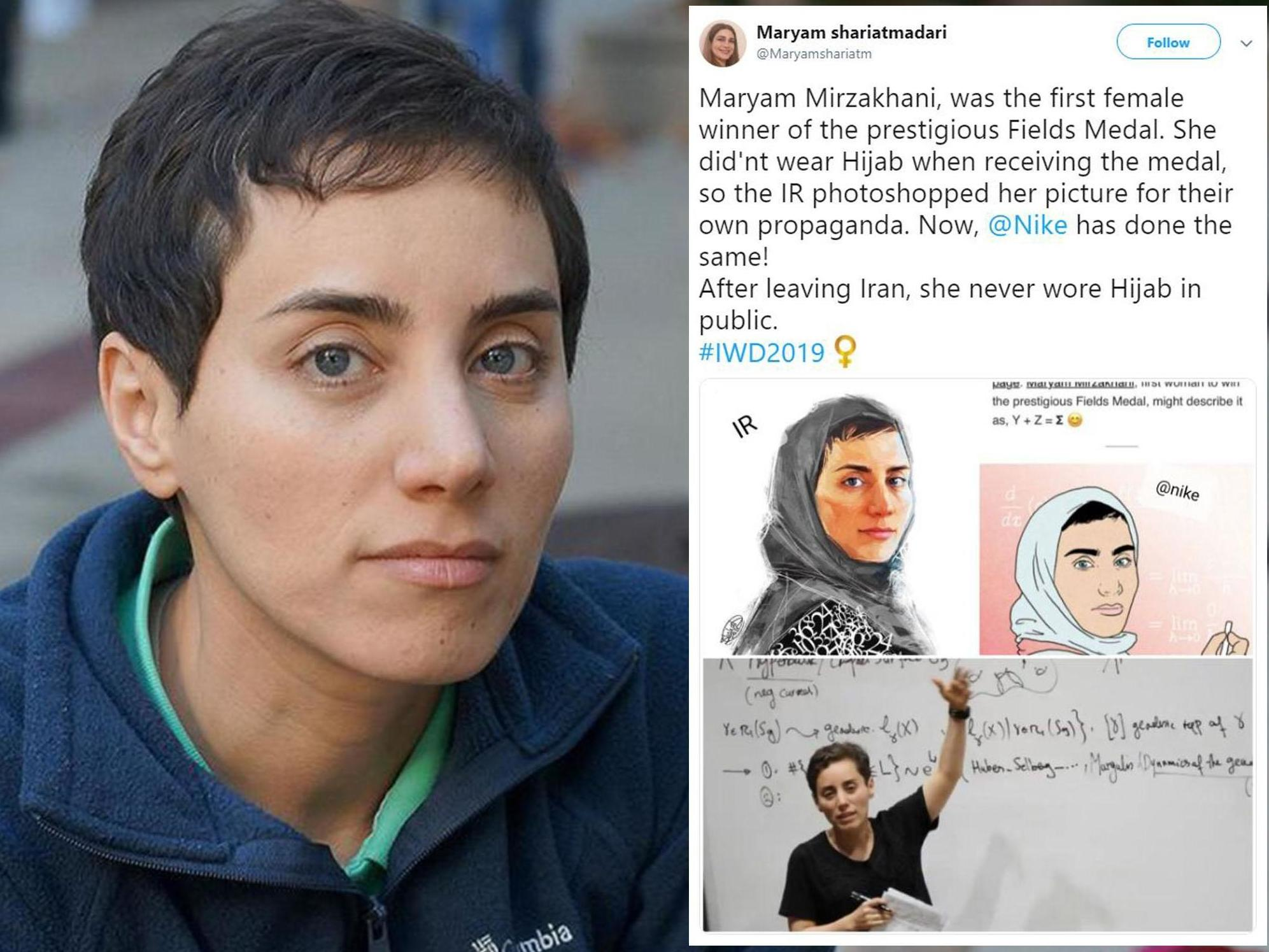 Nike condemned for putting hijab on Iranian mathematician who chose not to wear one