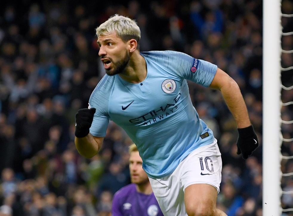 Sergio Aguero celebrates after setting City on their way