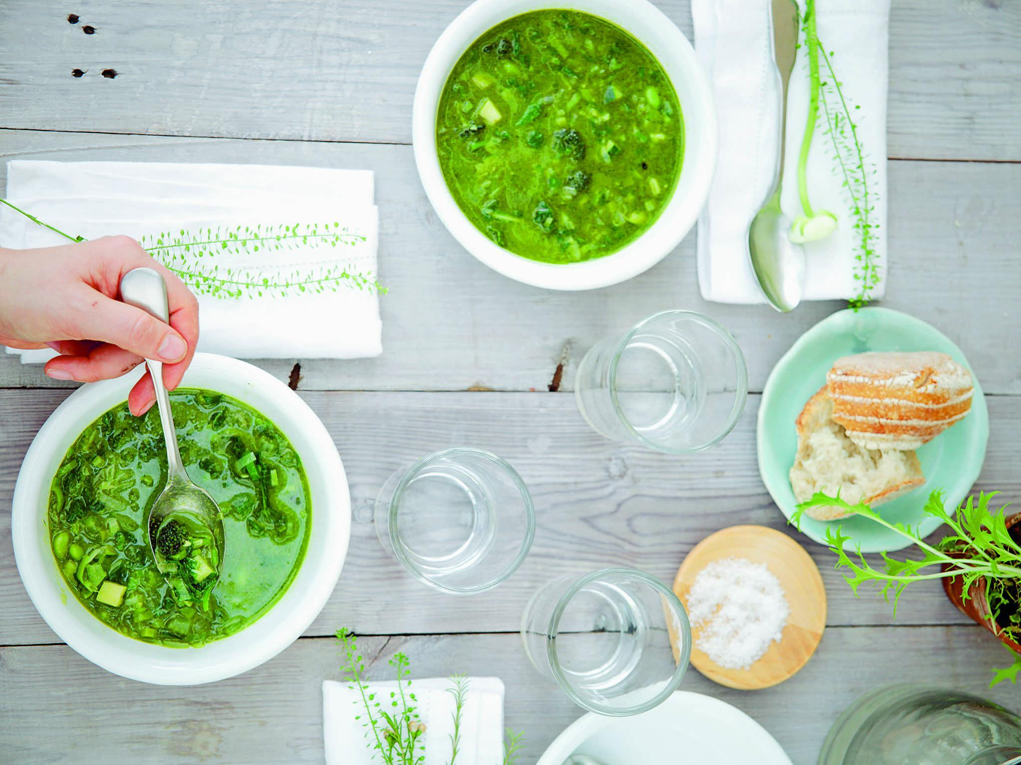 How to make Daylesford's spring green minestrone 1
